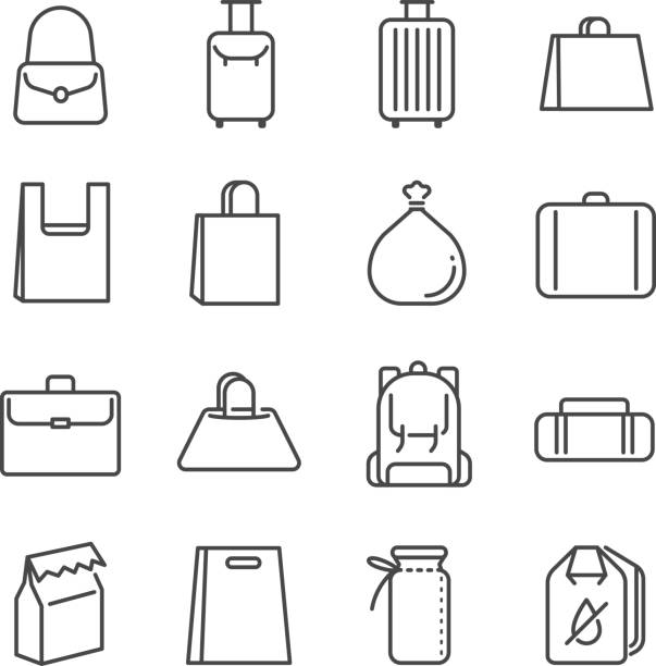 illustrazioni stock, clip art, cartoni animati e icone di tendenza di bag line icon set. included the icons as plastic bag, suitcase, baggage, luggage and more. - borsetta