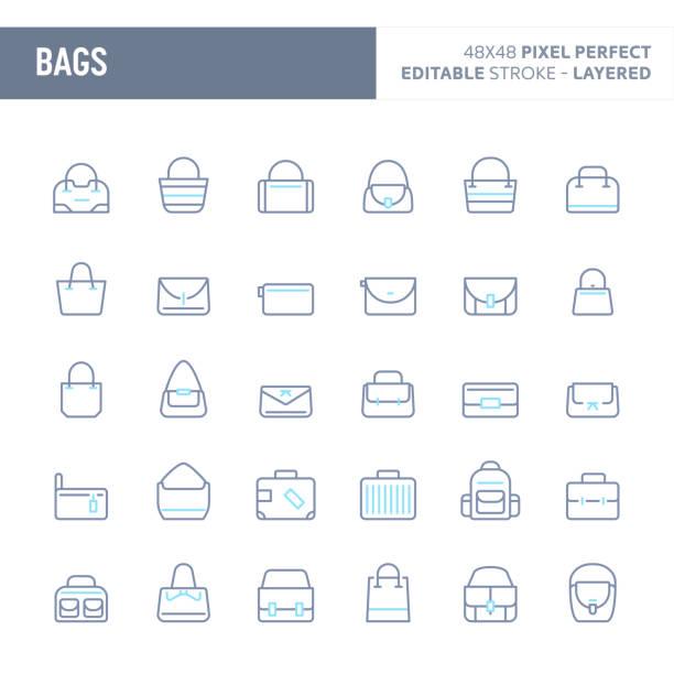 tasche minimal vektor icon-set (eps 10) - lederranzen stock-grafiken, -clipart, -cartoons und -symbole