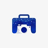 Bag Night With Camera Design Concept Illustration Vector Template. Suitable for Creative Industry, Multimedia, entertainment, Educations, Shop, and any related business