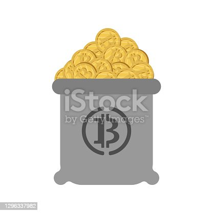 Bag of bitcoins. full bag of cryptocurrency. 21st Century Digital Treasure