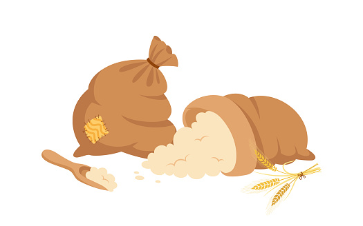 Bag of flour and wheat ears scoop cartoon vector