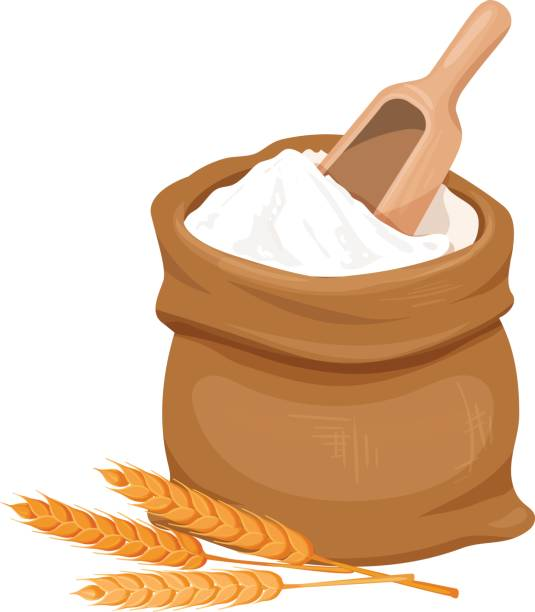 illustrazioni stock, clip art, cartoni animati e icone di tendenza di bag of flour and wheat - farina d'avena