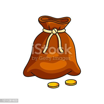 istock Bag of gold coins cowboy wealth isolated on white background 1211281620
