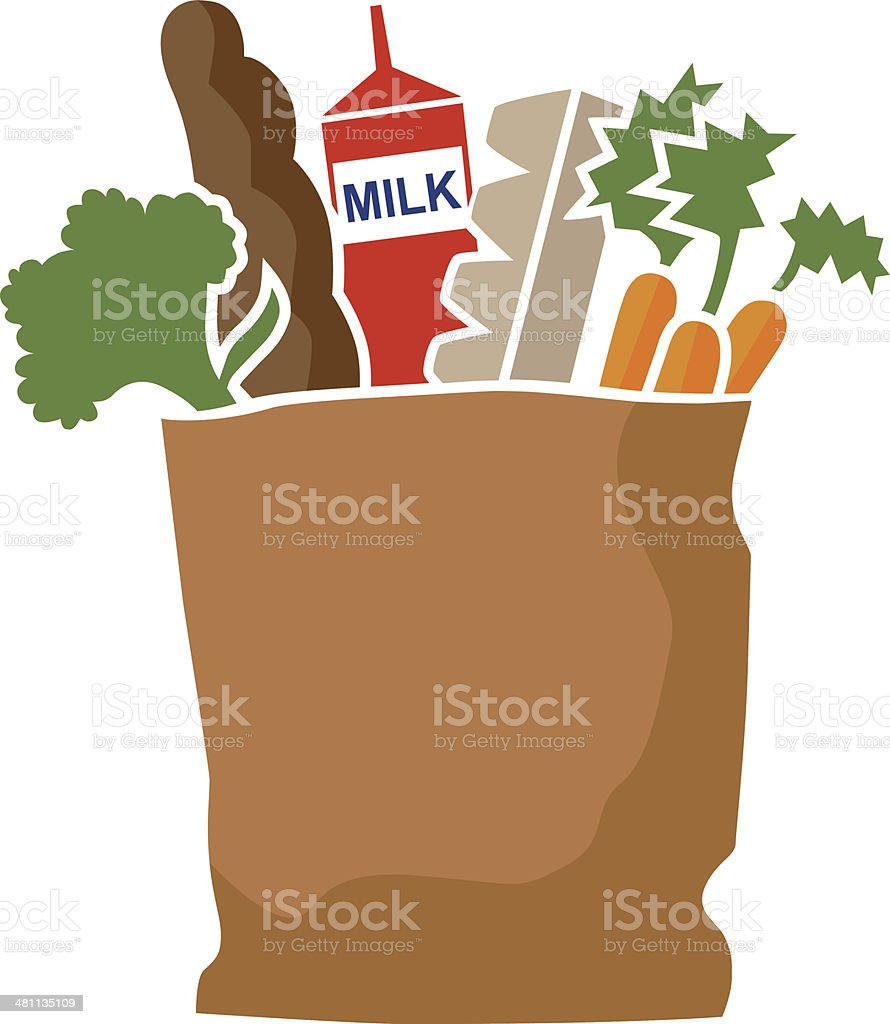 bag of groceries vector art illustration
