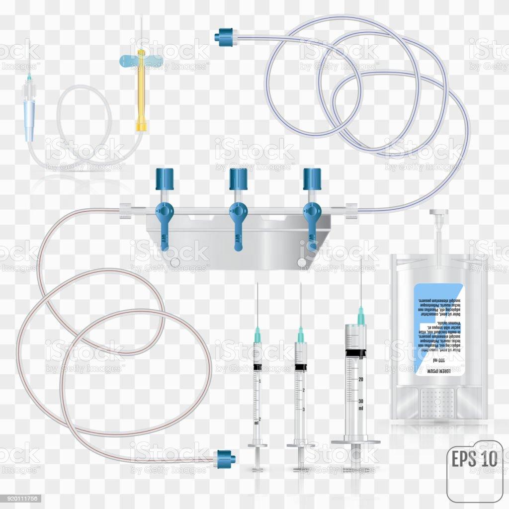 3b5e1a923 Set bolsa de infusión de plástico y antibióticos intravenosos. Sistema de  infusión intravenosa con un
