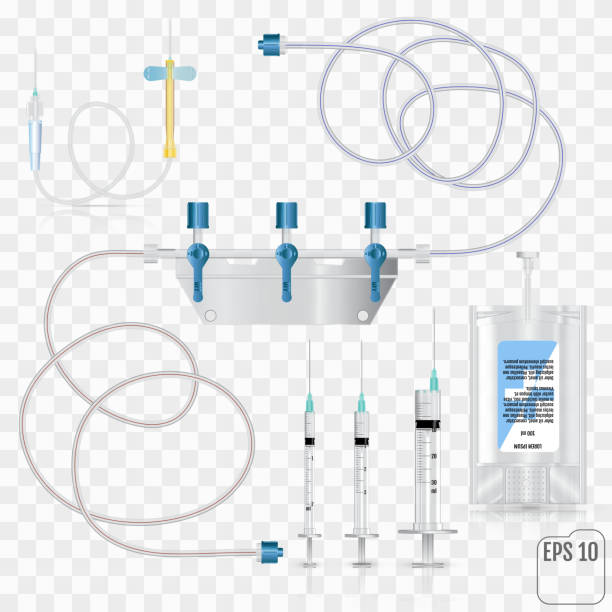 Bag of intravenous antibiotics and plastic infusion set. System for intravenous infusions with a converting device.  Tube and blood collection set. Vector Bag of intravenous antibiotics and plastic infusion set. System for intravenous infusions with a converting device.  Tube and blood collection set. Vector tube stock illustrations