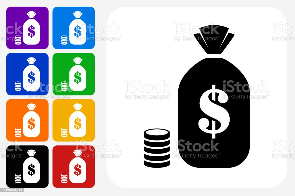 Bag of Money Icon Square Button Set - Royalty-free Bag stock vector