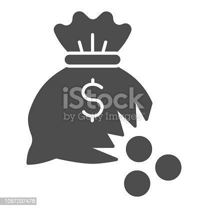 istock Bag of money with hole and coins solid icon, financial problem concept, leaking coins from torn money bag sign on white background, Hole in moneybag icon in glyph style. Vector graphics. 1257207478