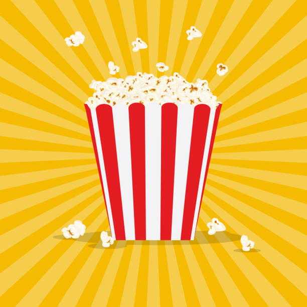 stockillustraties, clipart, cartoons en iconen met zak popcorn - popcorn