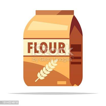 istock Bag of wheat flour vector isolated illustration 1314024818