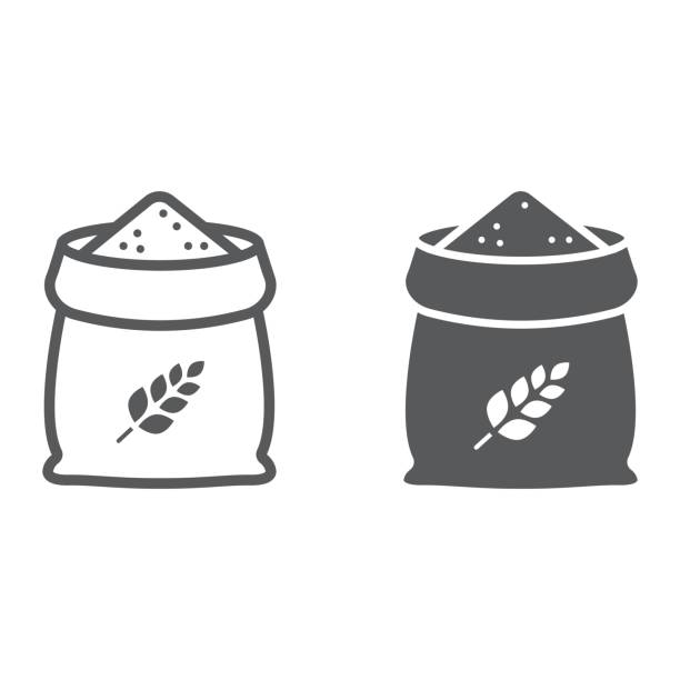 ilustrações de stock, clip art, desenhos animados e ícones de bag of wheat line and glyph icon, farming and agriculture, grain bag sign vector graphics, a linear pattern on a white background, eps 10. - saco