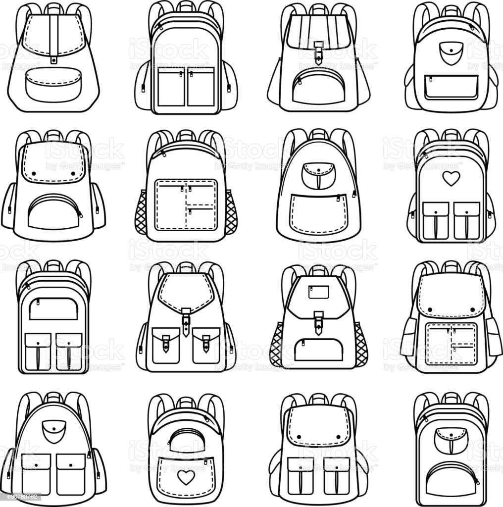 Bag pack lineaire pictogrammen​​vectorkunst illustratie