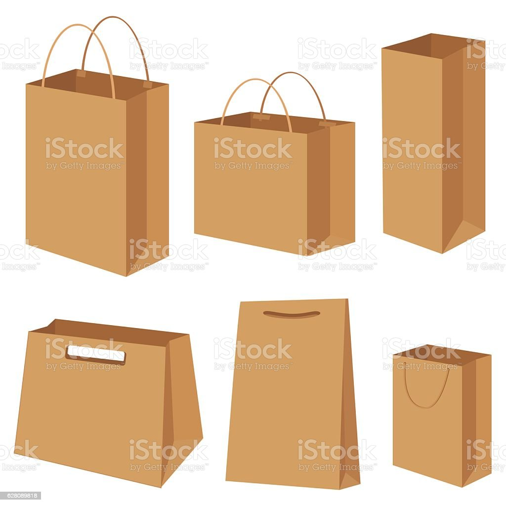 Bag paper container box packing shopping commercial set vector illustration vector art illustration