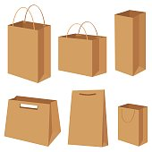 Bag paper container box packing shopping commercial set vector illustration