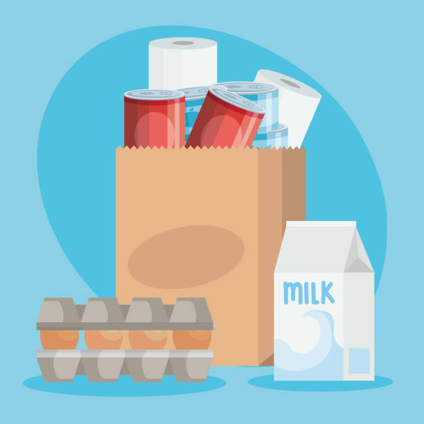 bag paper with set groceries icons vector art illustration