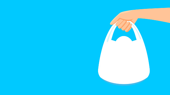 bag plastic and hand holding isolated on blue background, clip art plastic bag handle, copy space text for banner, hand holds bag plastic white, clear plastic bags packaging, illustration bag flat lay