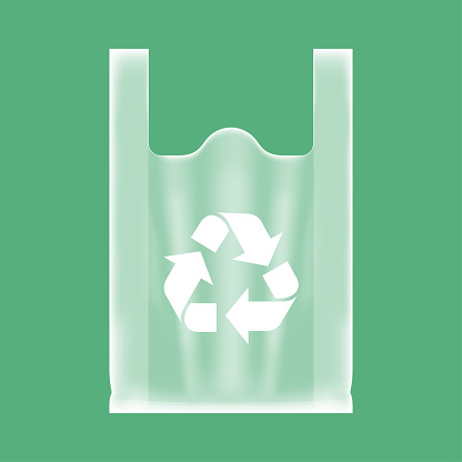 bag plastic clear with recycle symbol white, compostable clear plastic bags, eco plastic handle bag transparent, illustration bag for ecological conservation concept, bag plastic clear and transparent