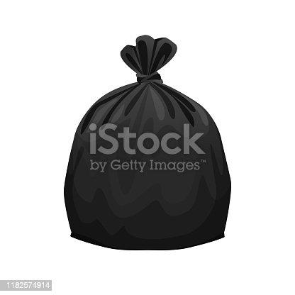 bag plastic waste black isolated on white background, black plastic bags for waste separation, plastic bag for garbage waste, clip art plastic bag for info graphic design, Illustration bin bags