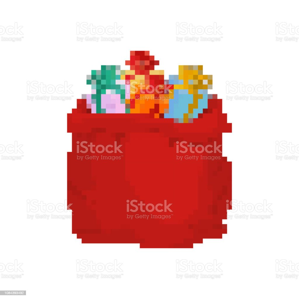 サンタ ピクセル アートをバッグします。大きな赤いお祭り休日バッグ 8 ビットです。子供のための多くの贈り物。スタイル ゲーム古い学校 ベクターアートイラスト