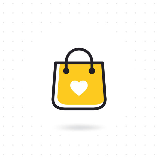 bag shopping vector icon - torba stock illustrations