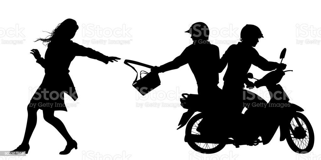 Bag snatchers silhouette vector art illustration