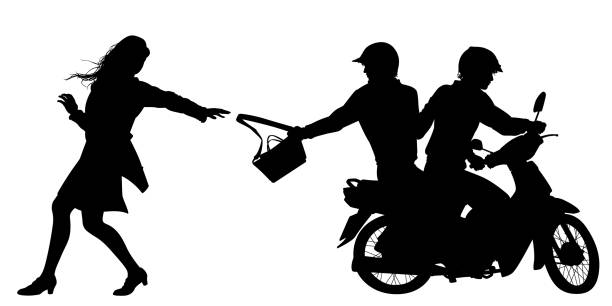 tasche snatchers silhouette - moped stock-grafiken, -clipart, -cartoons und -symbole