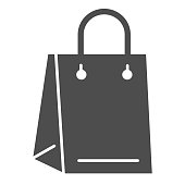 Bag solid icon. Polyethylene market pack with handles for shopping. Plastic products design concept, glyph style pictogram on white background, use for web and app. Eps 10