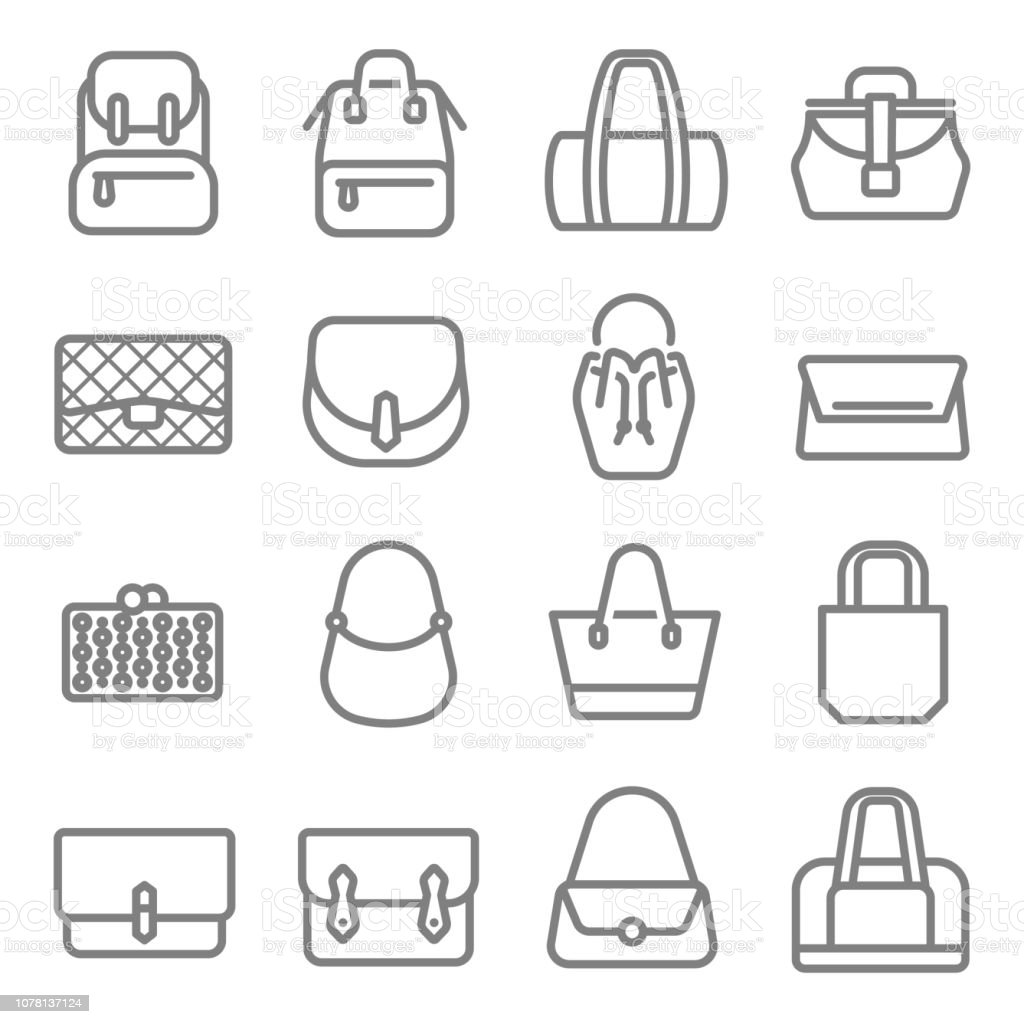 d5b495a9b82 Bag Type Vector Line Icon Set Contains Such Icons As Tote Clutch ...