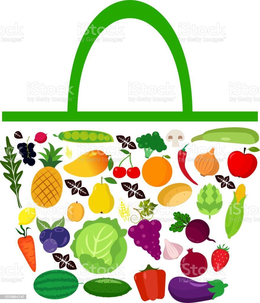Bag with fruits and vegetables vector art illustration