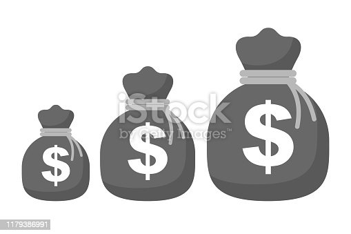 Bag with money icon, growth from small to large - stock vector
