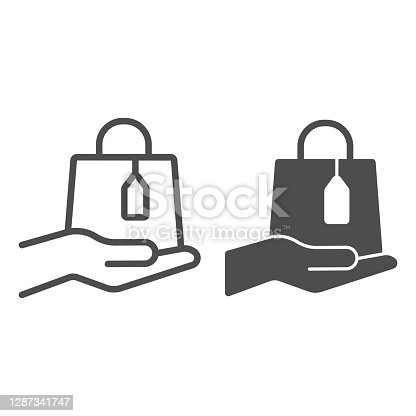Bag with tag and hand line and solid icon, Black Friday concept, palm hold shopping bag sign on white background, purchases package on hand icon in outline style for mobile and web. Vector graphics