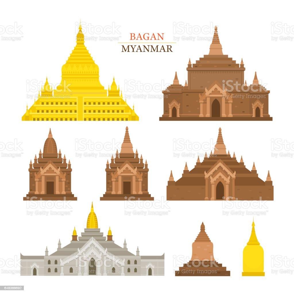 Bagan, Myanmar, Architecture Building Landmarks vector art illustration