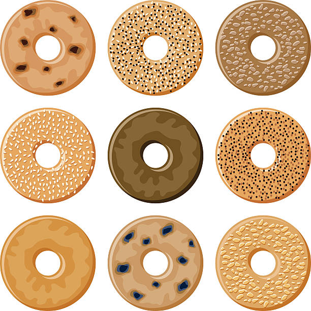 Bagel Icon Set A set of bagel food icons. No gradients used. bread clipart stock illustrations
