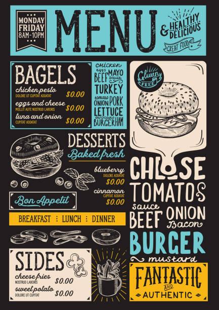 illustrations, cliparts, dessins animés et icônes de restaurant de menu bagel, modèle alimentaire. - cuisine espagnole