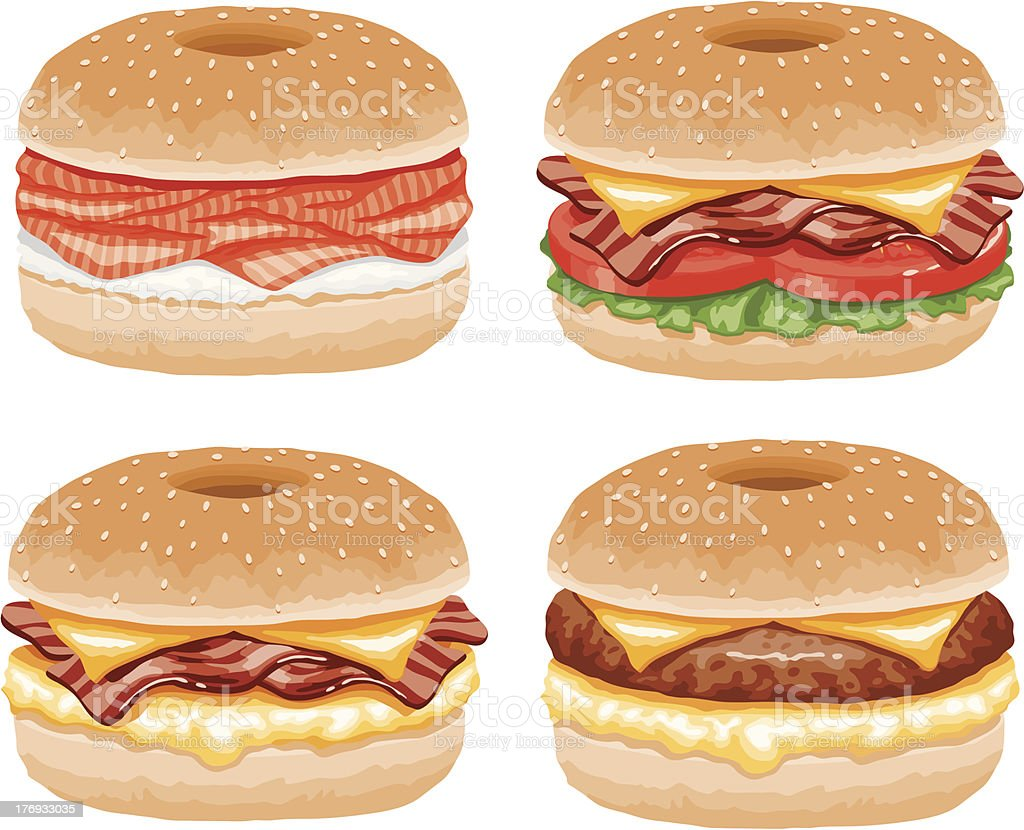 bagel sandwiches icon set stock vector art more images of bacon rh istockphoto com Bagel with Cream Cheese Clip Art Hamburger Clip Art