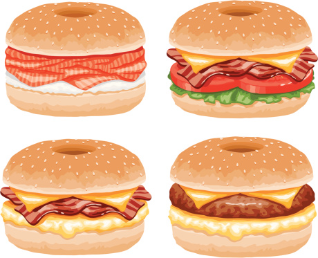 A set of bagel sandwich food icons. No gradients used.