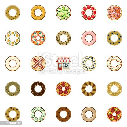 A set of flat design bagel icons. File is built in the CMYK color space for optimal printing. Color swatches are global so it's easy to edit and change the colors.
