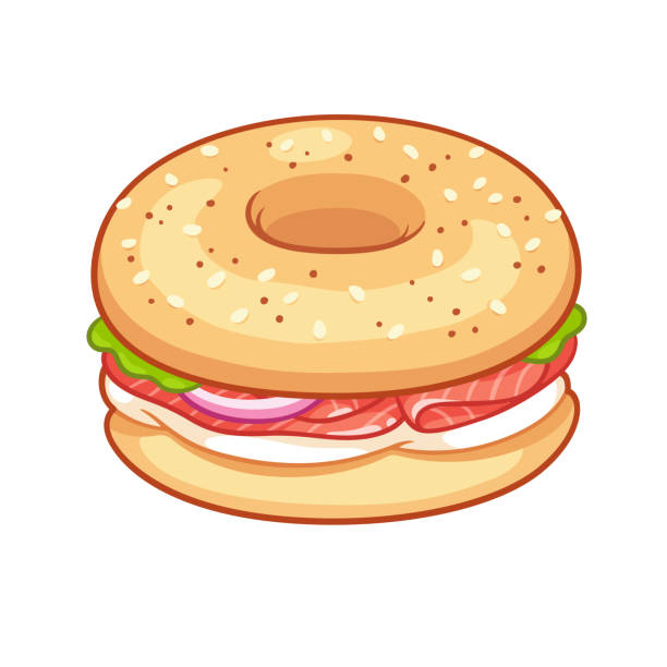 Bagel with cream cheese and salmon Traditional bagel sandwich with cream cheese, onion and lox or smoked salmon. Hand drawn cartoon style vector illustration. stuffed stock illustrations