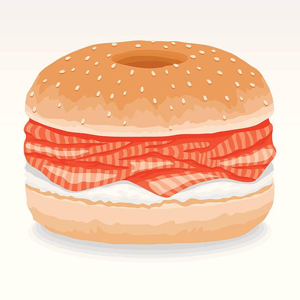 ベーグル&クリームチーズス付き - 食パン点のイラスト素材/クリップアート素材/マンガ素材/アイコン素材