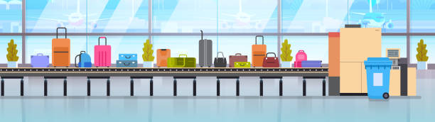 Baggage Carousel In Airport Different Suitcases Scanning On Luggage Conveyor Belt Before Departure Baggage Carousel In Airport Different Suitcases Scanning On Luggage Conveyor Belt Before Departure Flat Vector Illustration airport designs stock illustrations