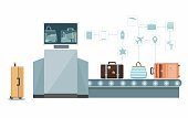 Baggage check, custom scanner at the airport. Vector Infographic