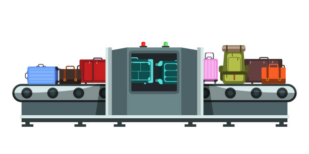 Baggage claim flat illustration Baggage claim flat illustration. Luggage in airport conveyor belt, airlines protection and safety system. Passengers suitcases x-ray scanning machine. International transportation security check airport clipart stock illustrations