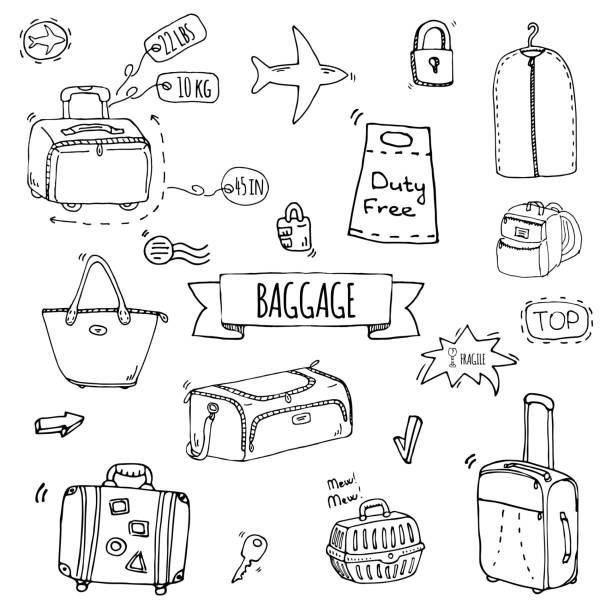 Baggage icons set Hand drawn doodle Baggage icons set. Vector illustration. Different types of baggage. Large and small suitcase, hand luggage, backpack, carrying animals, crate, handbag, tag. Sketch cartoon style. airport borders stock illustrations