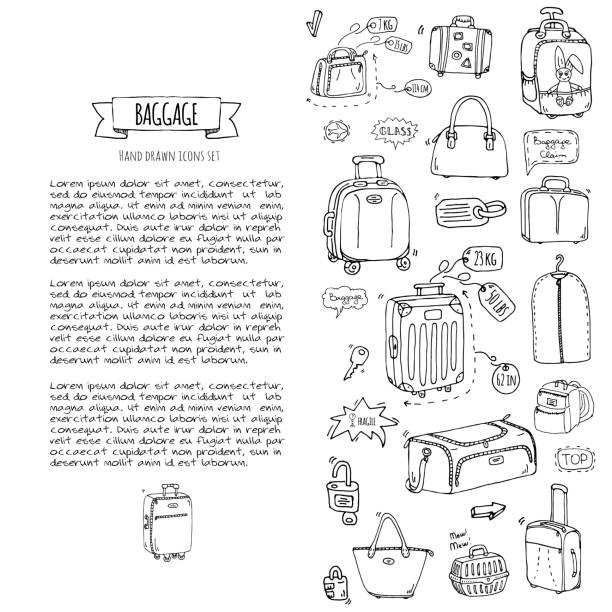 Baggage icons set vector art illustration