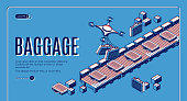 Baggage in airport conveyor isometric landing page. Drones loading luggage on belt for passengers claim. Travel bags delivering with quadrocopters in terminal. 3d vector web banner template, line art