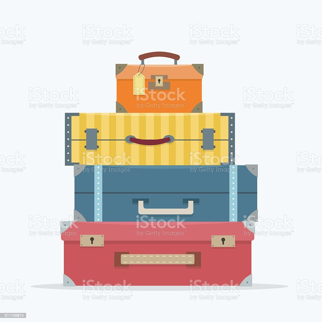 Baggage on background. vector art illustration