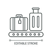 istock Baggage on conveyor belt pixel perfect linear icon. Luggage with tags on carousel. Thin line customizable illustration. Contour symbol. Vector isolated outline drawing. Editable stroke 1253259384
