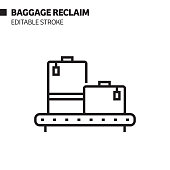 istock Baggage Reclaim Line Icon, Outline Vector Symbol Illustration. Pixel Perfect, Editable Stroke. 1199048585
