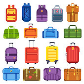 Baggage suitcase. Handle travel bag, luggage vacation backpack and business suitcases or fashion antique handbag leather accessory case. Colorful isolated flat vector icons set