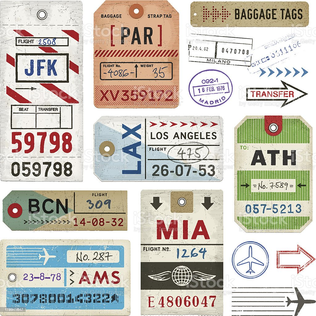 Baggage Tags and Stamps royalty-free stock vector art